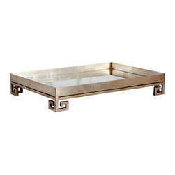 """Worlds Away - Worlds Away Julian Silver Leaf Tray - Sleek style defines the Worlds Away Julian tray's dramatic design. Atop a geometric Greek key base, this silver leaf accessory shimmers with a glamorous inset mirror. 20""""W x 14""""D x 4""""H; Silver leaf finish"""
