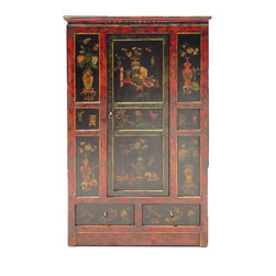 Golden Lotus - Tibetan Chinese Red Black Flower Vase Storage Cabinet - This cabinet has nice hand painted graphic of oriental flowers and vases on the front. It is a center one door opening design with two drawers at the bottom.