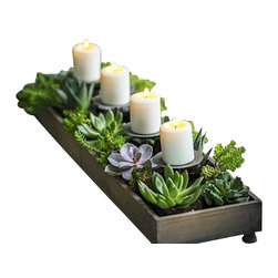 Candle centerpiece planter - Bring the outdoors in or create a warm glow when dining Alfresco! Take your pick. This 4 candle centerpiece is the perfect piece for someone looking for an organic centerpiece.