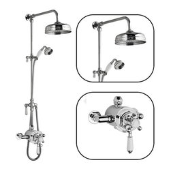 Hudson Reed - Traditional Thermostatic Shower System With Dual Valve and Grand Rigid Riser - The Hudson Reed Traditional Grand Rigid Riser Kit with Dual Thermostatic Shower Valve complements the appearance of any bathroom furnished in traditional style.
