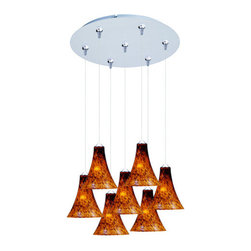 ET2 - ET2 E93733 Leopard Collection 7 Light Amber Leopard Shade Foyer Pendant - Bulbs - ET2 E93733 Seven Light Amber Leopard Shade Foyer Pendant from the Leopard Collection Collection - Bulbs IncludedShowcasing simple yet beautiful large amber leopard flared glass cones, the Leopard Collection seven light foyer pendant's artistic shades will enhance the appeal of any room in your home.ET2 E93733 Specifications: