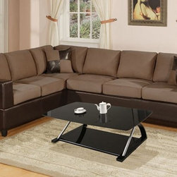 Contemporary 2 Pieces Saddle Microfiber Sectional Sofa Set Couch - Set Includes 2 Pieces Sectional Sofa