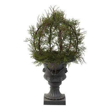 Nearly Natural - Pond Cypress Topiary Plant with Urn - Good for indoors or outdoors. More than 200 faux leaves. Green color. Urn: 13 in. Dia. x 15 in. H. Overall: 18 in. L x 18 in. W x 30 in. HAn amazing ornamental display, brought to breathtaking life. Wow... that's what everyone first says when they view this incredible pond cypress ball topiary. It really has to be seen to be believed. Lush faux leaves that reach in every direction. But the real beauty is how the stems rest on the stately grey and black urn. It's simply an amazing combination that will take everyone's breath away. An amazing look, captured for all time.