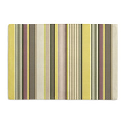 Purple & Green Modern Stripe Custom Placemat Set - Is your table looking sad and lonely? Give it a boost with at set of Simple Placemats. Customizable in hundreds of fabrics, you're sure to find the perfect set for daily dining or that fancy shindig. We love it in this red, orange, yellow & taupe multi stripe that feels modern with a need for speed.