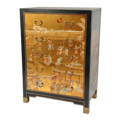 Oriental Furniture - Gold Leaf Village Life Five Drawer Chest - This hand-crafted chest of drawers was built using durable Asian joinery and cabinetry. The drawer faces are decorated with gold leaf appliqu&eacute and hand painted with traditional Ming era art motifs, then covered in a hard, clear lacquer. At a foot and a half deep, it provides significant drawer space, and is an exceptional Oriental accent for any room.