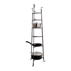 Enclume - Rack It Up 6-Tier Tripod Cookware Stand - * Tapered tripod legs. Scratch-resistant coating. Storage for large pots on the bottom and smaller ones on top. Made from hammered steel. 16.5 in. W x 14.5 in. D x 53.5 in. H. Minimal assembly required. Inspired by an antique French baker's rack, this stand beautifully displays your finest cookware. Can also be used in the sunroom or anywhere about the home to show off prize winning plants, cherished family photos, or favorite knick-knacks. Rack It Up collection