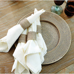 Ballard Designs - Set of 4 Piper Woven Napkin Rings - Coordinates with our Piper Woven Placemats & Chargers. Use all year-round. Our Piper Woven Napkin Rings are an easy, affordable way to layer in rich texture and color on your table. Hand woven of strong natural rattan with Washed Taupe finish.Woven Rattan Napkin Ring features: . .