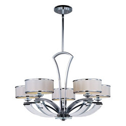 Maxim Lighting - Maxim Lighting Metro 5-Light Single-Tier Chandelier - Metro collection features heavy gauge metal tubing finished in high Polished Chrome bent in a gentle arc to meet a solid Beveled Crystal support that gives form to its classic design. Low profile White drum shades trimmed in Polished Chrome metal are illuminated by a xenon light source.