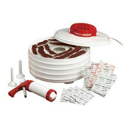 "Metal Ware Corp. - Nesco Jerky Xpress 350 - Nesco FD-28Jx Jerky xpress Food Dehydrator.  This dehydrator and home making jerky kit includes everything needed to make delicious home made jerky.   Just add ground meat.  All new, 350 Watt, fixed temperature, top down power head is perfect for the beginner or an experienced jerky maker!  Makes great tasting beef jerky or venison jerky! There are four different flavors of jerky spices included with this unit, Hot and Spicy, Teriyaki, Original, and Pepperoni. Includes: Four Trays.  Trays are 13.5"" in diameter.  Jerky gun with 3 tip attachments.  Four spice and cure packs.  350 Watt, fixed temperature, top down power head.  Patented fan flow radial air drying technology."