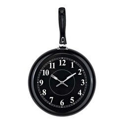 Modway - Pan Wall Clock in Black - Sizzle up some tantalizing recipes with this affectionately quirky pan clock. Overturn the everyday as you blend in portions of contradiction and mystery. Augment your understanding of the potentials of time while simultaneously peppering it with greater fuel and vitality.