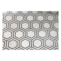 Mission Stone Tile - Hex Appeal Mosaic, Basalt and Oriental White Marble, Sample - Apparently, there are now six sides to every story.