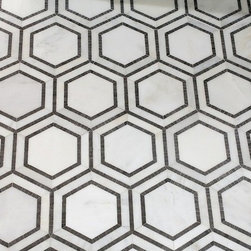Mission Stone Tile - Hex Appeal Hexagon Mosaic Tile, Oriental White/Basalt, Sample - Hex Appeal | 5 Inch Marble Hexagon Tile | Sample