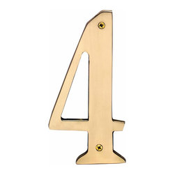 "Renovators Supply - House Numbers Bright Brass House Numbers:#4 8"" H 