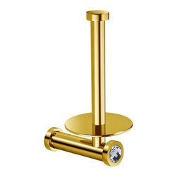 Windisch - Gold Brass Vertical Toilet Roll Holder With White Crystal - Elegant round wall mounted vertical toilet roll holder.
