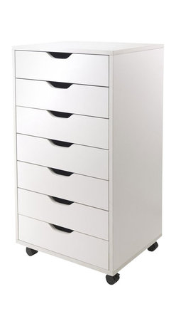 Winsome - Winsome Halifax Cabinet for Closet/Office with 7 Drawers in White Finish - Winsome - Storage Units - 10792 - Halifax storage carts feature a multitude of drawers for easily accessible storage in your home office kitchen craft room or a child's room.  Optional locking casters to use them with or wihtout casters for stationary or mobility storage.  Create a workspace by placing tabletop over 2 of 7-Drawer carts for high table or 5-Drawer creates a normal table height.