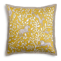 Yellow Modern Animal Motif Custom Euro Sham - Popped collars, statement necklaces, crisply ironed pants  it's the little details that complete a perfectly tailored look. And the sharp contemporary edging of the Tailored Euro Sham will do just that for your bed.  We love it in this sketched African animal and vine motif in modern mustard yellow. Be wild and wonderful!