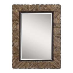 """Uttermost - Uttermost Tehama Small Rectangular Wall Mirror in Walnut Stained - Rectangular Wall Mirror in Walnut Stained belongs to Tehama Small Collection by Uttermost Frame is made of light, walnut stained wood with burnished details and an aged, black metal inner lip. Mirror features a generous 1 1/4"""" beveled mirror. May be hung either horizontal or vertical. Matching console table is item #24266. Mirror (1)"""