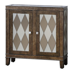 Uttermost - Trivelin Wooden Console Cabinet - Tarnished silver finish on the wooden frame, with the doors, sides and top inset with a harlequin pattern of clear and bronze mirrors.