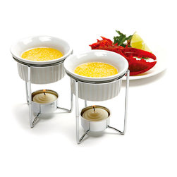 Norpro - Ceramic Butter Warmer - Set of Two - Keep butter and savory sauces at the perfect temperature beside seafood and vegetable spreads. Two warmers are included, and each one is comprised of a ceramic dish, stainless steel holder and tea light.   Includes two butter warmers, two holders and two tea lights 4.25'' H x 3.25'' diameter Butter warmer holds 3 oz. Ceramic / stainless steel Dishwasher-safe Imported