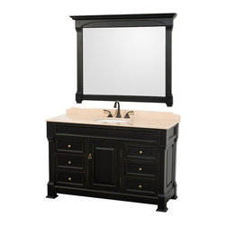 Wyndham Collection - 55 in. Bathroom Vanity with Undermount Sink - Includes matching mirror, natural stone counter and backsplash with porcelain sinks. Faucet not included. Beautiful transitional styling. White sink. Ivory marble top. Floor-standing linen tower. Hand carved and stained cabinet. Mirror glass thickness: 1 in.. 8 in. widespread three hole faucet mount. Plenty of storage space. Engineered to prevent warping and last a lifetime. Highly water-resistant low V.O.C. finish. Twelve stage wood preparation, sanding, painting and hand-finishing process. Fully extending side-mount drawer slides. Concealed door hinges. One door and six deep doweled drawers. Metal hardware with antique bronze finish. Warranty: Two years. Made from environmentally friendly, zero emissions solid oak hardwood. Antique black finish. Vanity: 55 in. W x 23 in. D x 35 in. H. Mirror: 50 in. L x 41 in. H (56 lbs.). Cabinet weight: 188 lbs.. Counter weight: 102 lbs.. Sink weight: 13 lbs.. Care InstructionsA new edition to the Wyndham Collection, the beautiful Andover bathroom series represents an updated take on traditional styling. The Andover is a keystone piece, with strong, classic lines and an attention to detail.