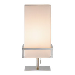 """Adesso Inc. - Mercer Table Lamp - Satin steel table lamp has a tall rectangular white silk-like shade which are cradled by satin steel bar frames. Has a stick-accented steel pull-chain switch. Takes 60 Watt incandescent or 13 Watt CFL bulb. 19.75"""" Height, 9.75"""" Width, 7.75"""" Depth. Flat base: 7.5"""" Width, 5.5"""" Depth. Shade: 15"""" Height, 7.5"""" Width, 5.5"""" Depth."""
