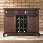 "Crosley - Newport Sideboard / Buffet - Features: -Three deep drawers.-Raised panel doors.-Removable wine storage panels for additional open storage.-Adjustable shelf behind each door.-Adjustable levelers in legs.-ISTA 3A certified.-Constructed of solid hardwood and veneer.-Newport collection.-Collection: Newport.-Distressed: No.-Product Type: Server.-Base Material: Wood.-Top Material: Wood.-Hardware Material: Steel.-Reclaimed Wood: No.-Solid Wood Construction: No.-Number of Items Included: 1.-Scratch Resistant: No.-Stain Resistant: No.-Tarnish Resistant: No.-Style: Traditional.-Display Case: No.-Drop Leaf/Expandable: No.-Mirror Included: No.-Drawers Included: Yes -Number of Drawers: 3.-Drawer Dividers: No.-Silverware Tray: No.-Safety Stop: Yes.-Felt Lined Drawers: No.-Locking Drawers: No.-Drawer Handle Design: Knobs..-Cabinets Included: Yes -Number of Cabinets: 2..-Shelves Included: Yes -Number of Interior Shelves: 2.-Adjustable Interior Shelves: Yes.-Number of Exterior Shelves: 1.-Adjustable Exterior Shelves: Yes..-Doors Included: Yes -Number of Doors: 2.-Magnetic Door Catches: Yes.-Locking Doors: No.-Door Handle Design: Knobs.-Sliding Doors: No.-Glass Doors: No..-Lighting: No.-Casters: No.-Towel Rack: No.-Wine Rack: Yes -Wine Rack Capacity: 12.-Removable Wine Rack: Yes..-Stemware Rack: No.-Dish Rack: No.-Removable Serving Tray: No.-Cable Management: No.-Finished Back: Yes.-Swatch Available: No.-Commercial Use: No.-Recycled Content: No.-Eco-Friendly: No.-Product Care: Use a soft clean cloth that will not scratch the surface when dusting. Use of furniture polish is not necessary. Should you choose to use polishes, test in an inconspicuous area first. Use of solvents of any kind may damage your furnitures finish. To clean, simply use a soft clean cloth moistened with lukewarm water, buff with a dry soft clean cloth.-Hardware Finish (Finish: Vintage Mahogany): Antique Brass.-Hardware Finish (Finish: Classic Cherry): Antique Brass.-Hardware Finish (Finish: Black): Brushed Nickel.Specifications: -Center storage area can hold up to 12 wine bottles.-FSC Certified: No.-ISTA 3A Certified: Yes.Dimensions: -Overall Product Weight: 128 lbs.-Overall Height - Top to Bottom: 36"".-Overall Width - Side to Side: 47.75"".-Overall Depth - Front to Back: 18"".-Countertop Width - Side to Side: 47.75"".-Countertop Depth - Front to Back: 18"".-Shelving: -Shelf Width - Side to Side: 13.625"".-Shelf Depth - Front to Back: 14.75""..-Drawers: -Drawer Interior Height - Top to Bottom: 5"".-Drawer Interior Width - Side to Side: 11.625"".-Drawer Interior Depth - Front to Back: 11.25""..-Cabinets: -Cabinet Interior Height - Top to Bottom: 22.25"".-Cabinet Interior Width - Side to Side: 13.625"".-Cabinet Interior Depth - Front to Back: 14.75""..Assembly: -Assembly Required: Yes.-Tools Needed: Allen key (provided) and screwdriver (not provided).-Additional Parts Required: No.Warranty: -Manufacturer provides a 3 month warranty against defects in material and workmanship.-Product Warranty: 90 day limited warranty."