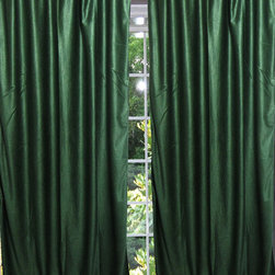 Mogul Interior - Two Pine Green Window Curtains Indian Sari Drapes Panel - Indian silk sari Curtain window drape Panels are not lined the perfect choice for your color matching bedroom decor, light, drapes with peasant look.