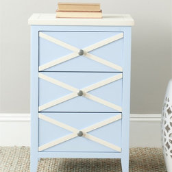 Safavieh - Safavieh Sherrilyn Light Blue/ White 3-drawer Side Table - The easy-going nature of the Sherrilyn 3-drawer side table gets done up in fresh pastels, shown here in light blue finished poplar with charming contrasting white top and x-details on front.