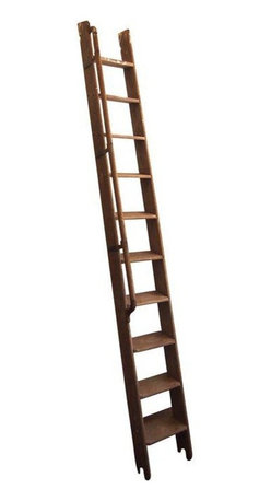 Wooden Library Boat Ladder - A vintage wooden library ladder. The ladder is made of raw wood with lots of charm. It has a wooden rail with metal hardware. It could have been a boat ladder. The ladder is very tall and perfect for a room with high ceilings.