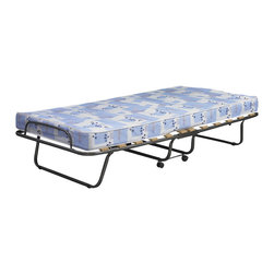 Linon - Linon Roma Folding Bed in Blue and White - Linon - Beds - 358ROMA01ASU - The Roma Folding Bed is simple and easy to use. The bed sets up in mere seconds, while the thick mattress provides your guests with ultra-comfortable support for the restful night�s sleep they deserve. Folds down in seconds into a small unit that is compact enough to store away in almost any closet. Use it as an extra bed, guest bed, kid�s bed, day bed or lounger.