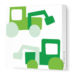 "Avalisa - Things That Go - Tractors Stretched Wall Art, 12"" x 12"", Green - Want to cultivate a space that's fun for your little farmer? These tractors come in a field of bright colors you will dig, in a variety of sizes. Scoop this one up to plant some color and whimsy in your life."
