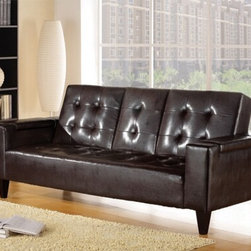 "Acme - Barron Espresso Leather-Like Adjustable Sofa Futon Bed with Tufted Back - Barron espresso leather like adjustable sofa futon bed with tufted back and fold down center with cup holders and arms with storage. This set features a leather like upholstery and a folding back to lay flat to convert to a sleep area. Measures when flat 86"" x 44"" x 23"" H. Measures when upright 86"" x 35"" x 35"" H. Some assembly required."