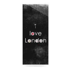"""Kess InHouse - Ingrid Beddoes """"I Love London"""" Black Grundge Metal Luxe Panel (9"""" x 21"""") - Our luxe KESS InHouse art panels are the perfect addition to your super fab living room, dining room, bedroom or bathroom. Heck, we have customers that have them in their sunrooms. These items are the art equivalent to flat screens. They offer a bright splash of color in a sleek and elegant way. They are available in square and rectangle sizes. Comes with a shadow mount for an even sleeker finish. By infusing the dyes of the artwork directly onto specially coated metal panels, the artwork is extremely durable and will showcase the exceptional detail. Use them together to make large art installations or showcase them individually. Our KESS InHouse Art Panels will jump off your walls. We can't wait to see what our interior design savvy clients will come up with next."""