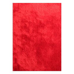 Rug - ~2 ft. x 3 ft. Red Living Room Door Mat, Made In Tibet, Shaggy & Hand-tufted - Living Room Hand-tufted Shaggy Area Rug Door Mat