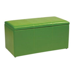"OSP Designs - ""OSP Designs Vinyl Ottoman Bench w/ 2 Storage Ottomans, Green"" - ""Office Star OSP Designs Vinyl Storage Ottoman Bench with 2 Storage Ottomans, made in high quality vinyl fabric, includes dual storage ottomans with tray tops, fully assembled for convenience, and intended for residential use only.Dimensions (W x L x H): 14"""" x 14"""" x 14""""Featured in Vinyl MaterialIncludes dual storage ottomans without tray topsFully AssembledIntended for residential use only"""