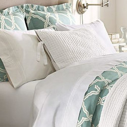 Kendra Trellis Duvet Cover, Twin, Blue - For a bold yet classic look, our two-tone bedding is a refreshing update. Made of a linen/cotton blend. Duvet cover and sham reverse to self. Duvet cover has interior ties and a button closure; sham has an envelope closure. Duvet cover, sham and insert sold separately. Machine wash. Imported.