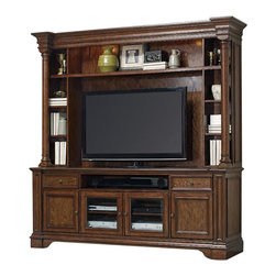 """Hooker Furniture - Two Piece Entertainment Group - White glove, in-home delivery included!  Furniture assembly included!  This pleasing Two Piece Entertainment Group is crafted from rubberwood solids and white oak veneers.  Entertainment Console - Two drawers, center channel speaker area, two doors with adjustable shelf behind each door, two wood-framed beveled glass doors with one adjustable shelf behind each, one three plug electrical outlet.  Center channel speaker openeing: 39 1/8"""" w x 19 3/4"""" d  Center channel speaker height: 6"""" h (clear height) 7 3/4"""" h (inside height)  Entertainment Console Hutch - One fixed shelf, four adjustable shelves, two lights controlled by three-intensity touch switch, moveable back panel.  TV space: 61"""" w x 19 1/2"""" d x 38 1/8"""" h  Console may be used freestanding and will accommodate up to a 70"""" television."""