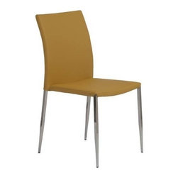 Eurostyle - Eurostyle Diana Stackable Leatherette Side Chair in Saffron [Set of 4] - Stackable Leatherette Side Chair in Saffron belongs to Diana Collection by Eurostyle A stacking chair that is upholstered, seat and back. Extra guests, extra comfortable. The Diana is a convenient stacking chair that doesn't look like a stacking chair! Order up a tall stack. (Four per order) Side Chair (4)