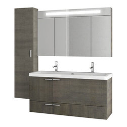 ACF - 47 Inch Grey Oak Bathroom Vanity Set - This 47 inch vanity set was manufactured and designed in Italy by ACF.