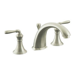 KOHLER - KOHLER K-T387-4-BN Devonshire Deck-Mount Bath Faucet Trim with Lever Handles in - KOHLER K-T387-4-BN Devonshire Deck-Mount Bath Faucet Trim with Lever Handles in Brushed NickelFill your bath quickly and elegantly with the durable Devonshire(R) deck-/rim-mount faucet.  The natural lines and smooth lever handles - available in an extensive selection of Vibrant PVD color finishes - invite you to draw a luxurious bath.KOHLER K-T387-4-BN Devonshire Deck-Mount Bath Faucet Trim with Lever Handles in Brushed Nickel, Features:• KOHLER ceramic disc valves exceed industry longevity standards over two times for a lifetime of durable performance