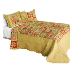 Blancho Bedding - Twilight Time Cotton 3PC Vermicelli-Quilted Patchwork Quilt Set  Full/Queen - Set includes a quilt and two quilted shams (one in twin set). Shell and fill are 100% cotton. For convenience, all bedding components are machine washable on cold in the gentle cycle and can be dried on low heat and will last you years. Intricate vermicelli quilting provides a rich surface texture. This vermicelli-quilted quilt set will refresh your bedroom decor instantly, create a cozy and inviting atmosphere and is sure to transform the look of your bedroom or guest room. Dimensions: Full/Queen quilt: 90 inches x 98 inches  Standard sham: 20 inches x 26 inches.