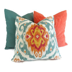 Iman Turquoise and Orange Ikat Decorative Pillow Cover By PopOColor - An ikat pattern with turquoise and orange looks fresh, current and is an instant update to your decor.