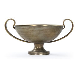Zentique - Daphney Trophy - The Daphney Trophy features a round bowl with double handles in a brass like rustic finish.