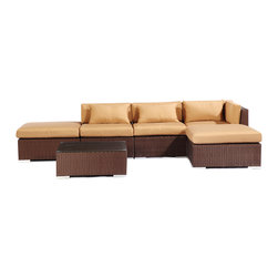 "Kardiel - Modify-It Outdoor Furniture Patio Sectional Chaise Poipu 6pc Set Rattan, Taupe - Poipu 6-piece set is a salute to clean contemporary style. The 6-piece Modify-It Poipu collection features an open-ended ultra stylish chaise sectional. A matching tempered glass coffee table grounds the setting. Extraordinary design stimulates the conversationalist and lounger alike. The flexible nature of Modify-It modular allows for customized reconfiguring of the layout at will. The design origins are Clean European. The elements of comfort are inspired by the relaxed style of the Hawaiian Islands. The Aloha series comes in many configurations, but all feature a minimalist frame and thick, ample modern cube cushions. The back cushions are consistent in shape, not tapered in to create the lean back angle. Rather the frame itself is specifically ""lean tapered"" allowing for a full cushion, thus a more comfortable lounging experience. The cushion stitch style utilizes smooth and clean hand tailoring, without extruding edge piping. The generously proportioned frame is hand-woven of colorfast, PE Resin wicker. The fabric is Season-Smart 100% Outdoor Polyester and resists mildew, fading and staining. The ability to modify configurations may tempt you to move the pieces around... a lot. No worries, Modify-It is manufactured with a strong but lightweight, rust proof Aluminum frame for easy handling."