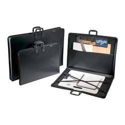 Alvin and Company - Heavy Duty Studio Art Portfolio with Interior - Choose Size and Gusset: 17 in. L x 22 in. WThe durable design of this art portfolio makes it an excellent choice for keeping art, documents, plans or blueprints safe and secure during transport. It features an elastic cross strap that holds items securely in place as well as an interior pocket and a zippered pouch for tools and accessories. It is available in your choice of sizes. Inside features a 6 in. x 17.75 in. zippered pouch for carrying smaller items. With full width pocket for keeping artwork and important papers handy. Inner elastic cross strap holds artwork securely in place. Includes an ID/business card pocket. Largest two sizes in both gusset widths include an extra side handle for added convenience. Constructed of durable, heavy-duty black polypropylene with stitched cloth edges. Molded plastic comfort handles are securely riveted in four places for added strength