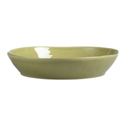 Marin Green Centerpiece Bowl - Artisanal ceramic shapes are glazed a soft green with subtle hand-antiquing on the freeform rims. Also available in white.
