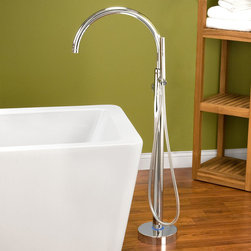 Glynne Gooseneck Freestanding Tub Faucet - Beautiful and functional, the Glynne Freestanding Tub Faucet features a gooseneck spout and an extra-long reach for maximum installation flexibility. Plus, the hand sprayer is a great way to add the convenience of a shower to your luxurious freestanding bath tub.