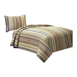 American Traditions - Morning Stripe Quilt Set, Twin - Classic small scale stripe quilted bedding for that comfortable casual lifestyle.