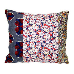 Acapillow - Floral Patchwork Pillow - Dress up your bed with this colorful oversized throw cushion made with a patchwork of vintage fabrics, including a 1940s feed sack, calico and vivid, navy and crimson Indian block print. The funky prints look great against quilts, other patterns and solid linens so you can mix and match to your heart's content.