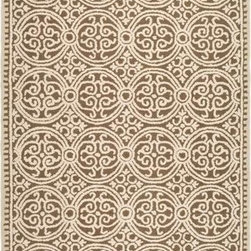 Safavieh - Safavieh Cambridge CAM232A 6' Round Brown, White Rug - Bring classic style to your bedroom, living room, or home office with a richly-dimensional Safavieh Cambridge Rug. Artfully hand-tufted, these plush wool area rugs are crafted with plush and loop textures to highlight timeless motifs updated for today's homes in fashion colors.